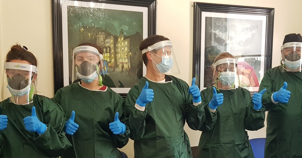 dental team in stirling using ppe